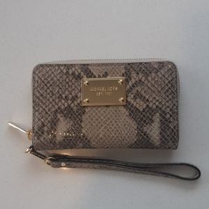 Michael Kors Snakeskin wristlet/wallet